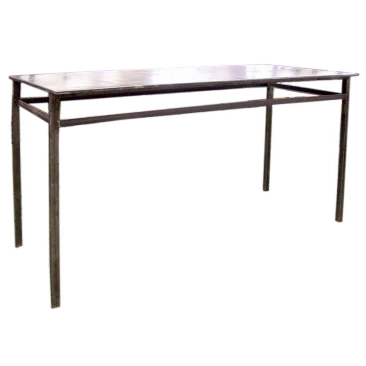 French Industrial Steel Mid Century Console Table At 1stdibs
