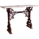 Antique French Iron Base Tavern Table, Marble Top