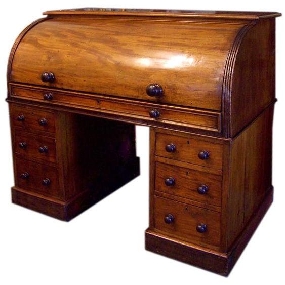 Antique English Mahoganytwo Part Cylinder Desk At 1stdibs - Cylinder Desk Desk Design Ideas