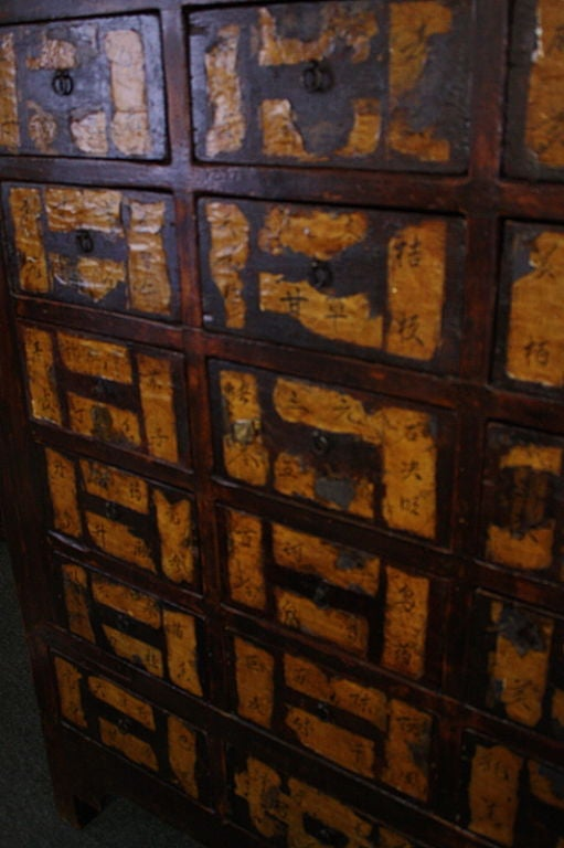 Large Antique Chinese Apothecary Chest Paper Labels At