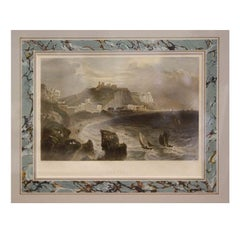 Six Antique Framed Hand-Colored Engravings, English Port Scenes