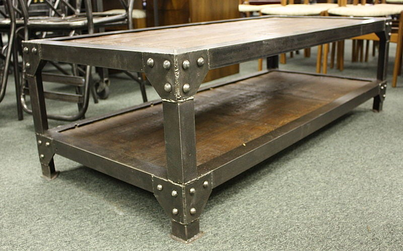 Lovely Handsome Industrial French Riveted Steel And Wood Coffee Table 3