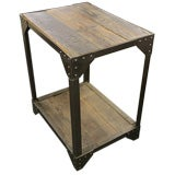 French Industrial Riveted Steel and Wood Side Table, c1940