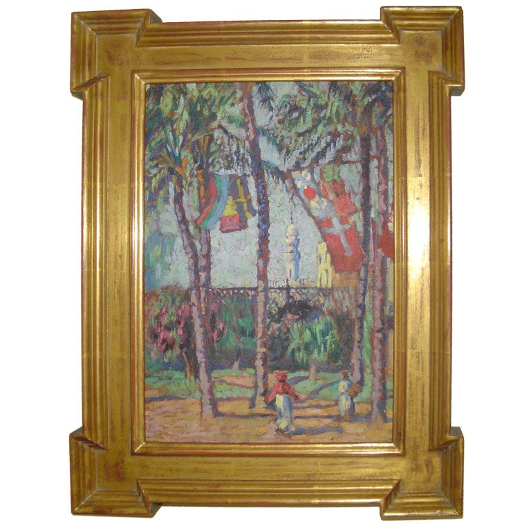 Gladys Logan Winner Painting With Palm Trees And Flags At 1stdibs