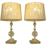 Pair of Contemporary Crystal Lamps