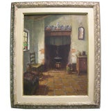 Signed Oil-On-Canvas Painting of a European Interior Scene