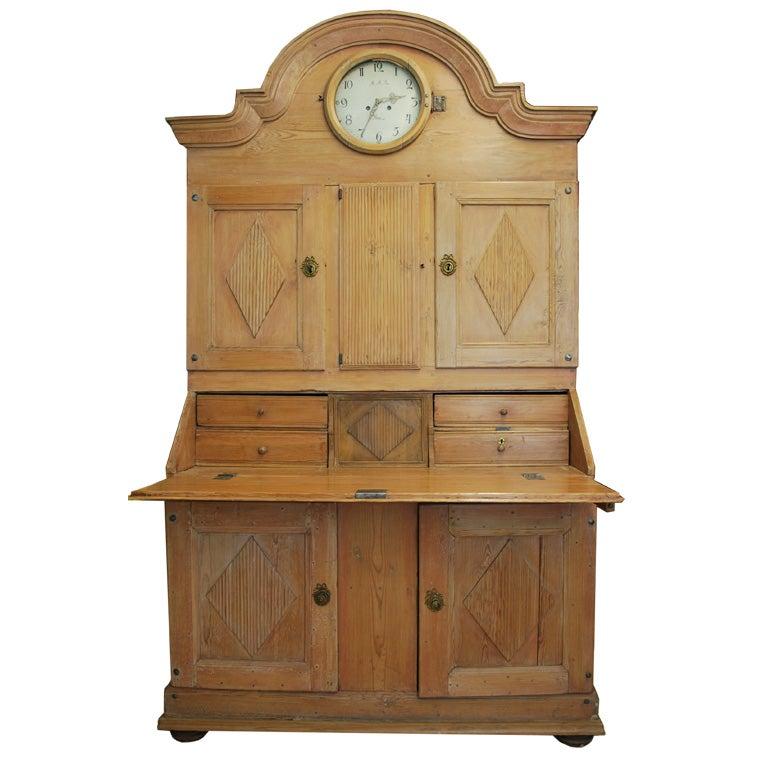 Antique Swedish Pine Secretary Desk With Clock At 1stdibs