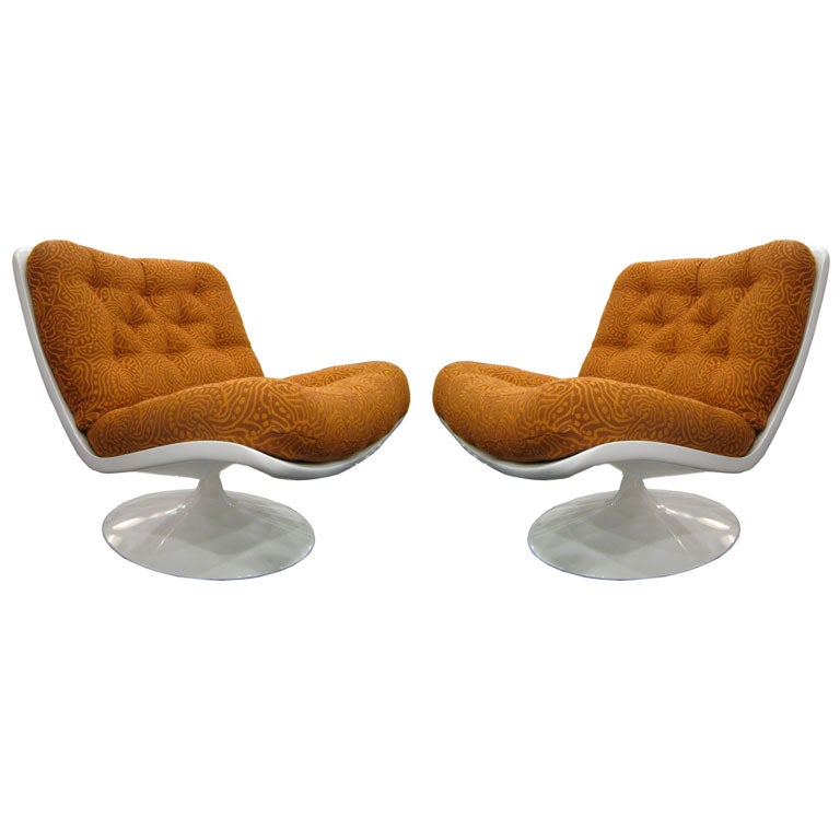 Pair of Geoffrey Harcourt Swivel Lounge Chairs for Artifort