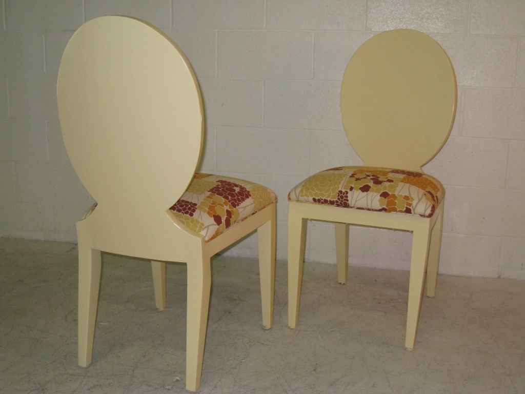 Set of 6  Louis Chairs from A. Rudin.  New Lacquer Finish and Upholstery