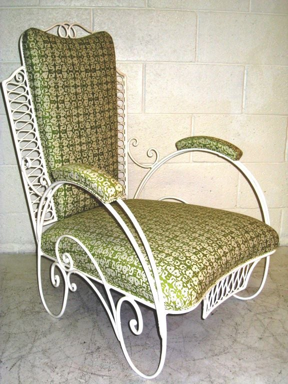 Mid-20th Century Pair of  Large French Wire Garden Chairs For Sale