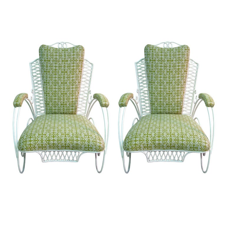 Pair of  Large French Wire Garden Chairs For Sale