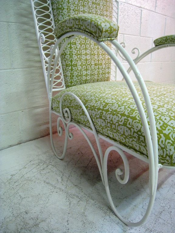 Pair of  Large French Wire Garden Chairs For Sale 1