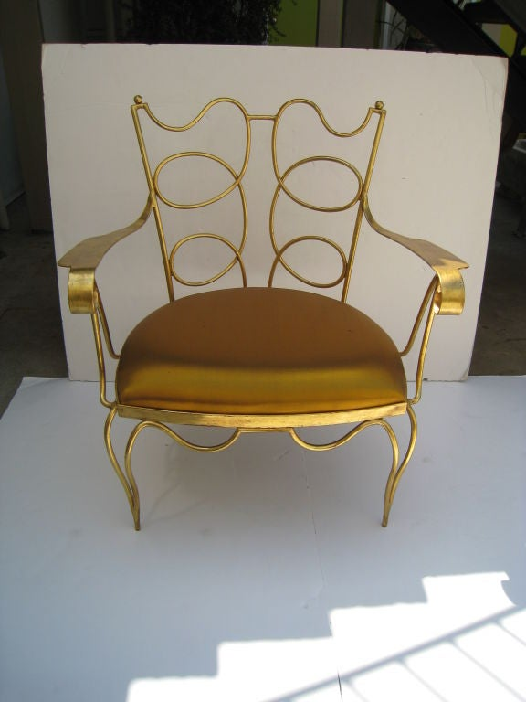 Arturo Pani Gilt over Iron Hand Forged Chair 2