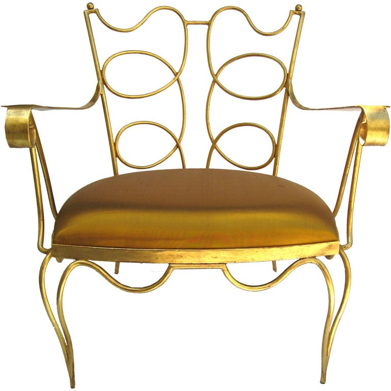 Arturo Pani Gilt over Iron Hand Forged Chair 1