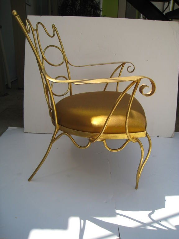 Arturo Pani Gilt over Iron Hand Forged Chair 5