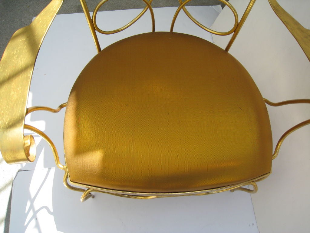 Arturo Pani Gilt over Iron Hand Forged Chair 6