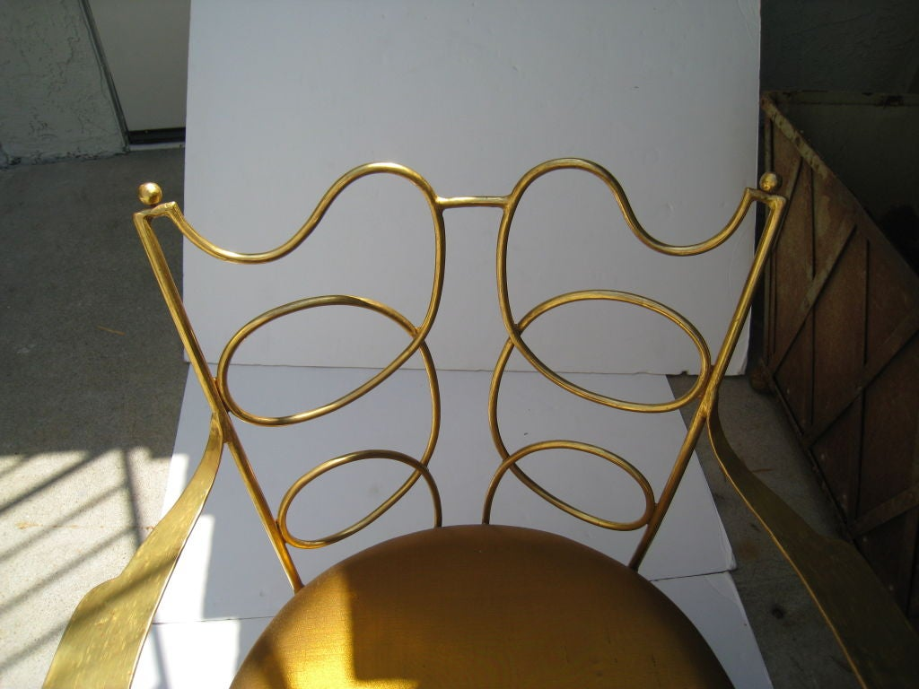 Arturo Pani Gilt over Iron Hand Forged Chair 7