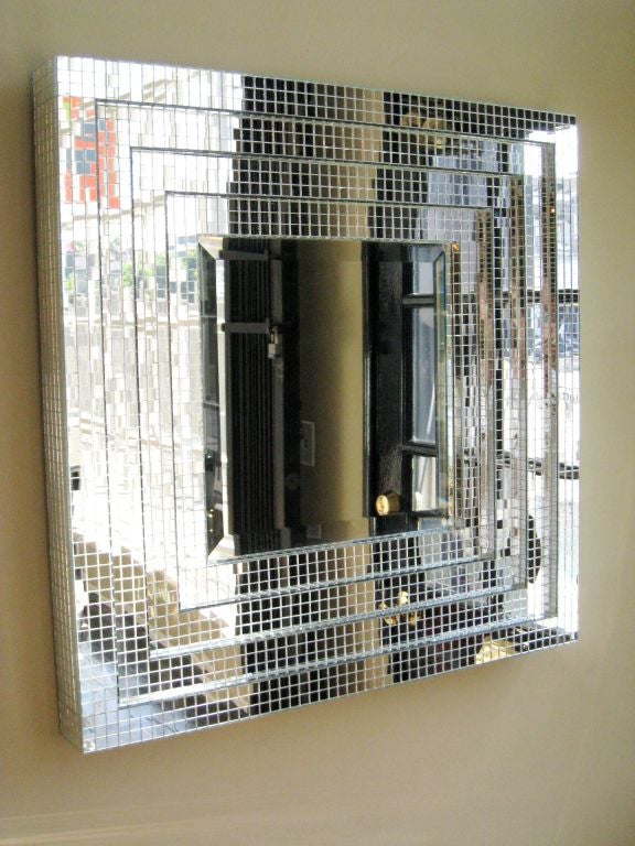 Downtown Classics Collection -STUDIO Mirror. Mosaic Glass Mirror Frame with Beveled interior Mirror.  Four Step Frame with clear interior mirror.