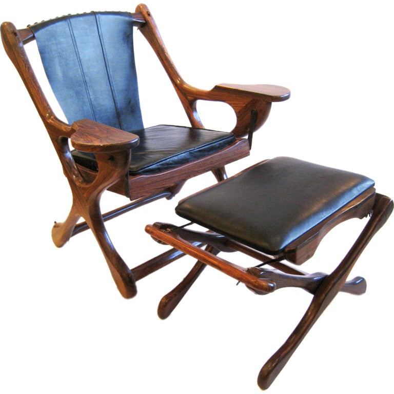 Don Shoemaker Studio Rosewood Lounge Chair and Ottoman For Sale