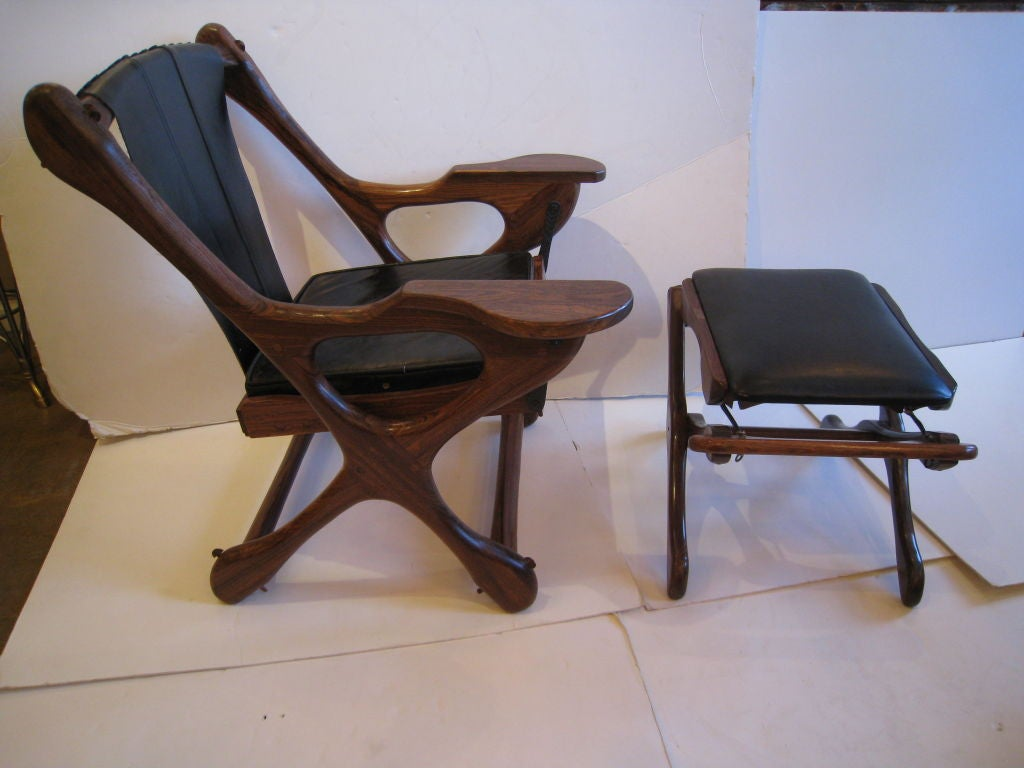Don Shoemaker Studio Rosewood Lounge Chair and Ottoman For Sale 4