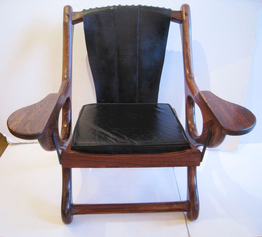 Mexican Don Shoemaker Studio Rosewood Lounge Chair and Ottoman For Sale