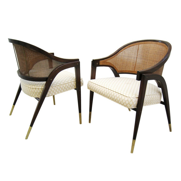 Pair of edward wormley for dunbar captain chairs at 1stdibs - Edward wormley chairs ...