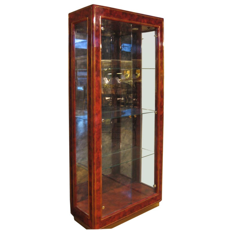 Lacquered Wood And Glass Display Cabinet By Mastercraft At 1stdibs