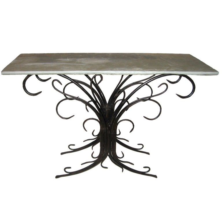 Wrought iron console sofa table at 1stdibs for Wrought iron sofa table legs