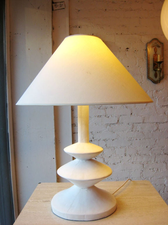 Mid-Century Modern Iconic Pair of French Plaster Lamps by Jacques Grange for Yves Saint Laurent For Sale