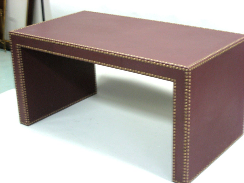 Large French Mid Century Modern Studded Leather Desk In