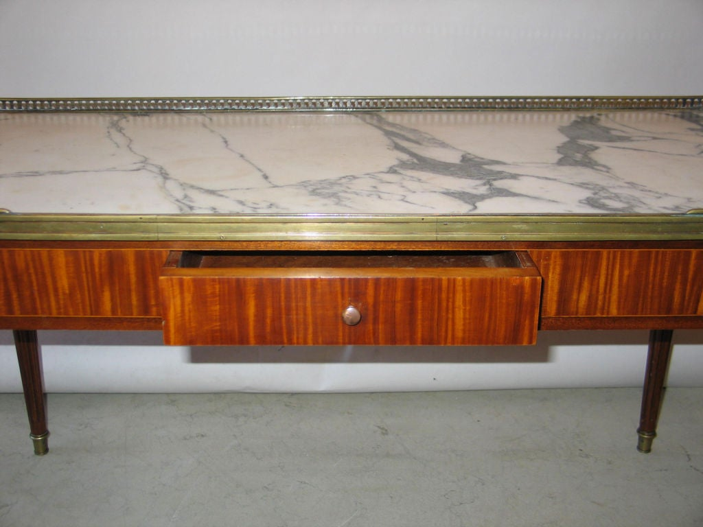Brass Expandable French Modern Neoclassical Wood, Marble Coffee Table by Maison Jansen For Sale