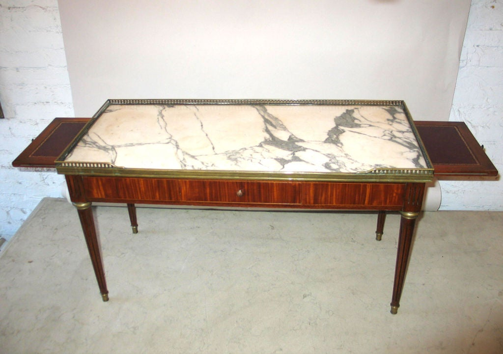 Mid-20th Century Expandable French Modern Neoclassical Wood, Marble Coffee Table by Maison Jansen For Sale