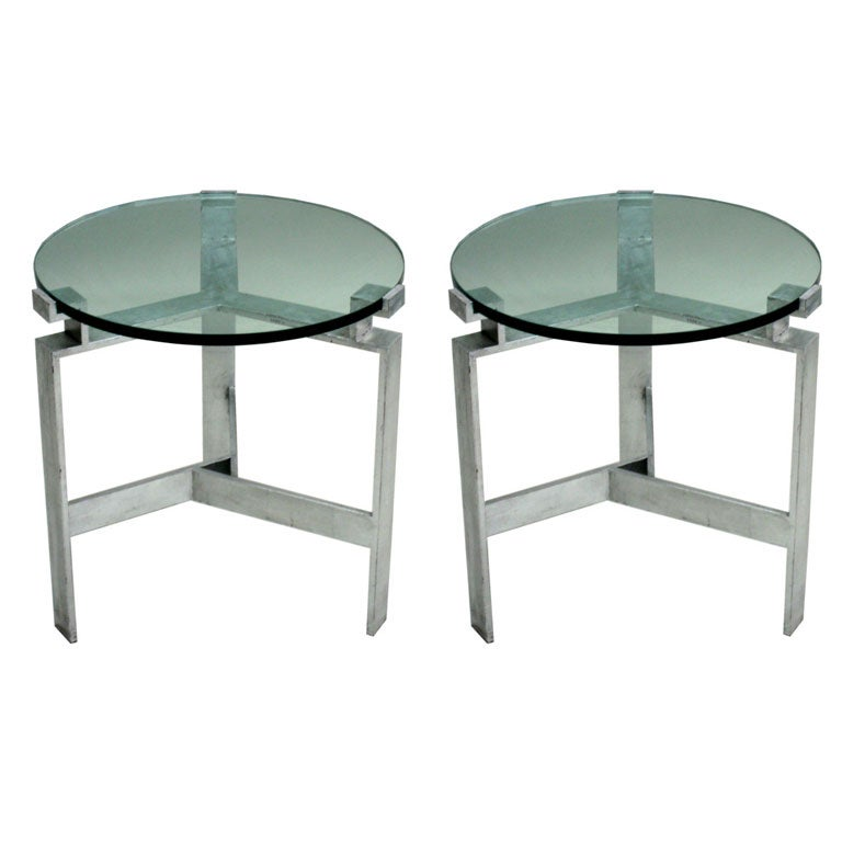 Pair French Mid-Century Modern Silver Leaf Iron End Tables, Style Jacques Quinet
