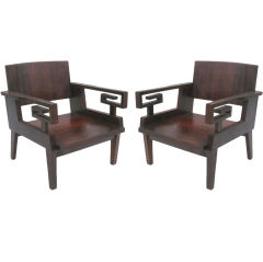 2 Pairs French Colonial, Mid-Century Modern Neoclassical, Kingwood Lounge Chairs