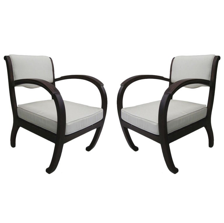 Pair of French Colonial Mid-Century Modern Organic Form Lounge Chairs