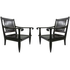Important Pair of Modern Neoclassical French Colonial Lounge Chairs