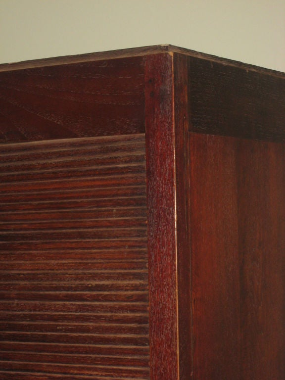 Mid-20th Century French Art Deco Mahogany Roll Top Cabinet / Storage / Armoire , 1930 For Sale