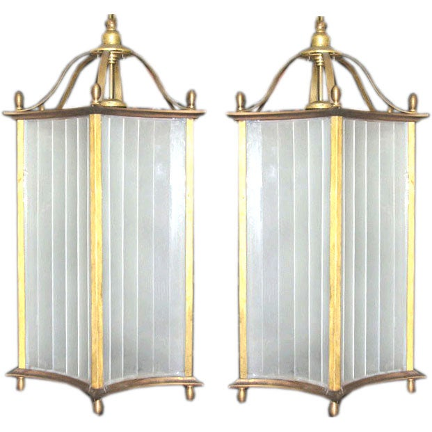 Rare Pair Of Large French Lanterns Pendants Attributed