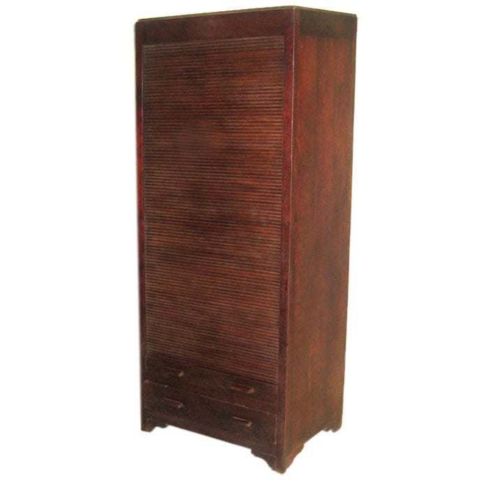 French Colonial Mid-Century Modern Roll Top Amoire, Storage,  Bookcase, Cabinet