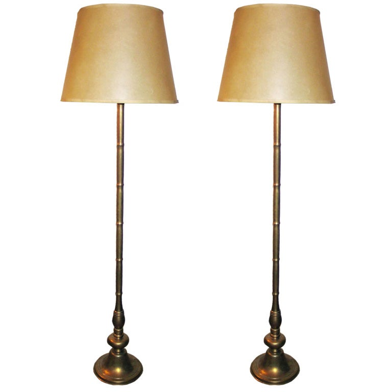Pair Of French Colonial Faux Bamboo Floor Lamps At 1stdibs