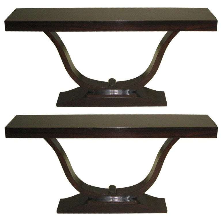 Two French Art Deco Macassar Ebony Style Sofa Tables / Consoles