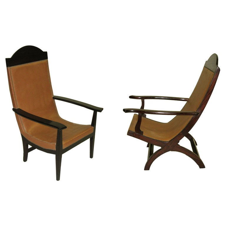 Pair of French Modern Neoclassical Lounge Chairs / Armchairs