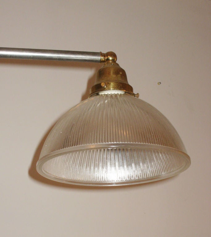 French Mid Century Modern Steel And Brass Four Light
