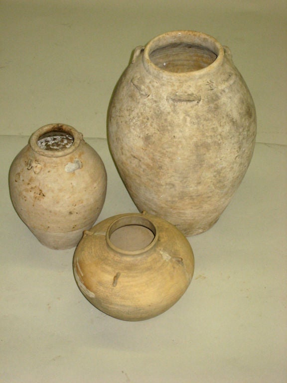 3 Antique Khmer Pottery Vases 2