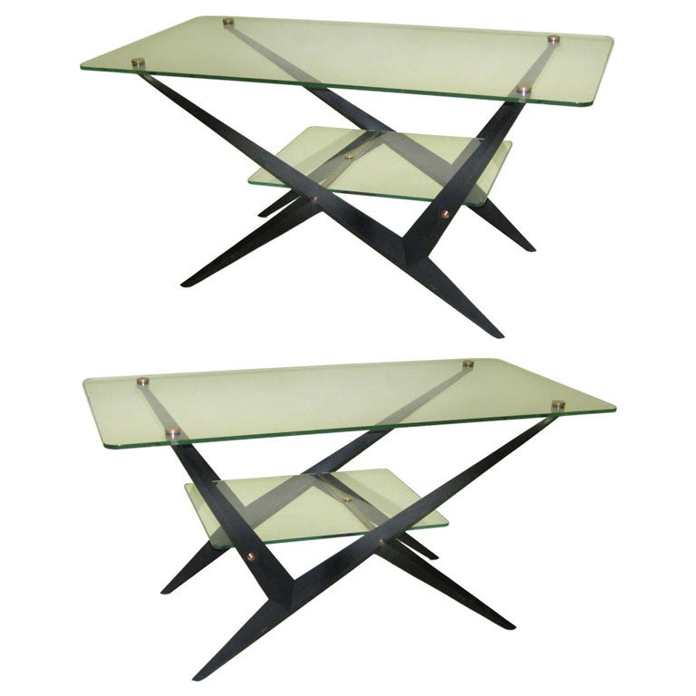 2 Italian Mid-Century Modern Coffee / Side Tables by Angelo Ostuni for O-Luce For Sale