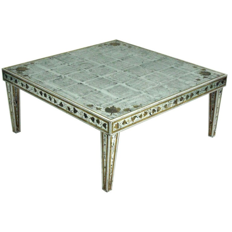 Large French Coffee Table: Large French Mid-Century Silver Leaf Verre Églomisé Coffee