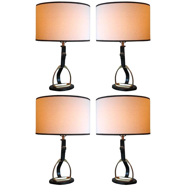 4 French Mid-Century Modern Neoclassical Leather 'Stirrup' Table Lamps by Hermes 1