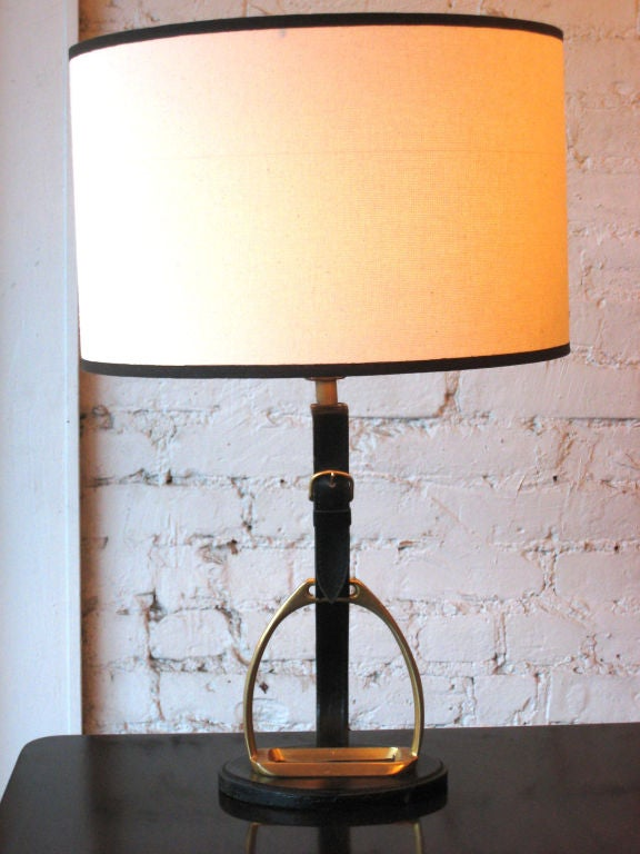 4 French Mid-Century Modern Neoclassical Leather 'Stirrup' Table Lamps by Hermes 3