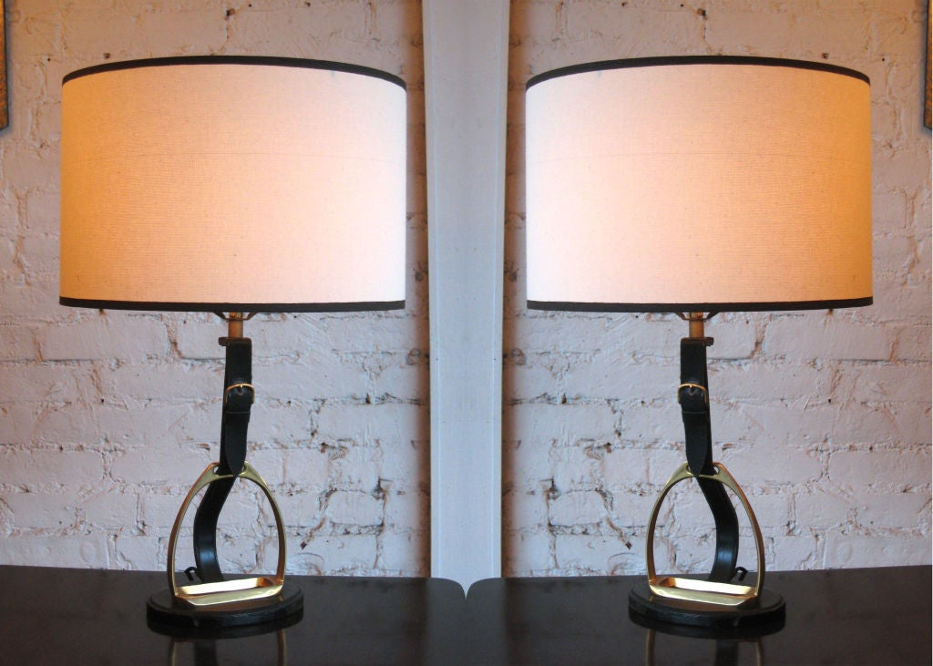 4 French Mid-Century Modern Neoclassical Leather 'Stirrup' Table Lamps by Hermes 2