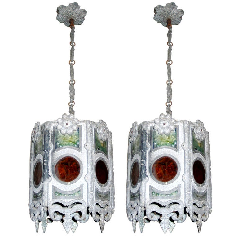 Pair of Italian Modern Gothic Zinc and Stain Glass Pendants/Lanterns